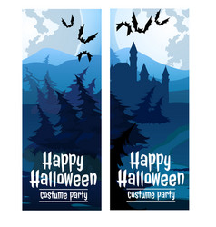 Two vertical cards on the theme of the halloween vector