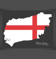 West sussex map england uk with english national vector