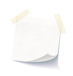 White empty note attached with adhesive tape vector
