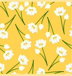 White indian lotus on yellow background vector