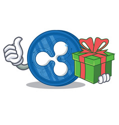 With gift ripple coin character cartoon vector