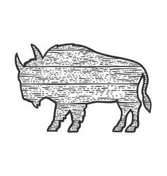 wooden buffalo silhouette sketch vector image
