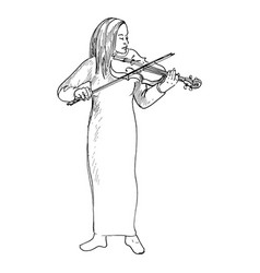 Young girl playing the violin violinist vector