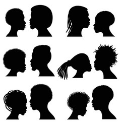 african female and male face silhouettes vector image vector image