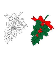 Christmas holly branch vector image