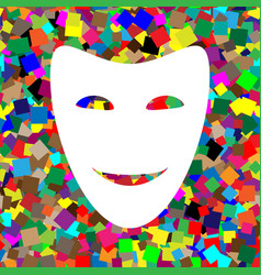 Comedy theatrical masks white icon on vector