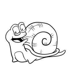 hand drawn smiley snail cartoon- vector image
