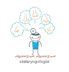 otolaryngologist thinks about different noses vector image vector image