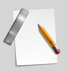 Pencil metal ruler and a piece of paper vector image vector image