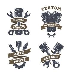 Set of auto logos garage service spare parts vector image