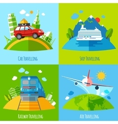 Travel transportation 4 flat icons square vector image vector image