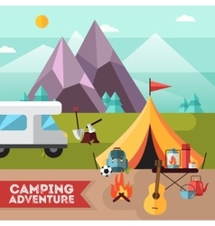 Camping hiking adventure flat background poster vector