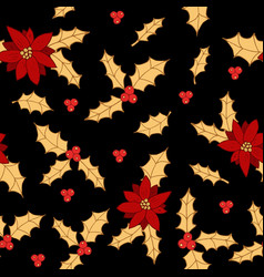 Christmas seamless pattern with holly and vector
