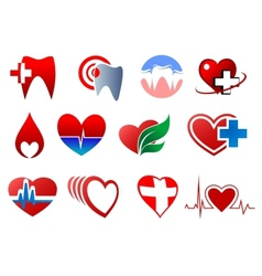 Cartoon teeth and hearts for dentistry design vector image vector image