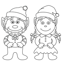 Gnomes boy and girl outline vector image vector image