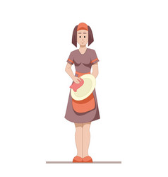 Housekeeper or housewife cleans the dishes after vector