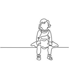 little girl dressed up sitting vector image