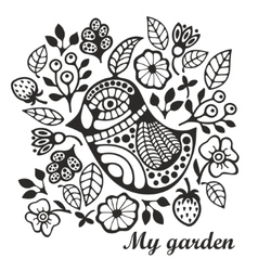 Page for coloring with bird and flowers vector image vector image
