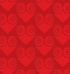Red solid swirly hearts on checkered background vector image vector image