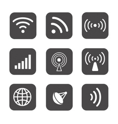 Wireless icons set white silhouettes on black vector image vector image