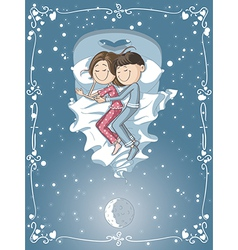 Cute Cartoon Couple Cuddles in Bed vector image vector image