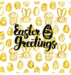 easter greetings handwritten card vector image vector image
