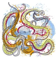 octopus in watercolor style vector image vector image