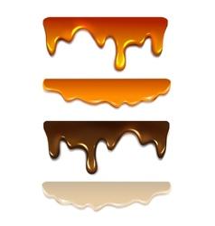 Set Melting chocolate milk cream liquid caramel vector image