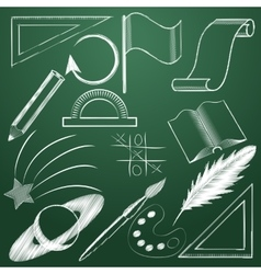 Set of educational symbols in chalk Icons on a vector image vector image
