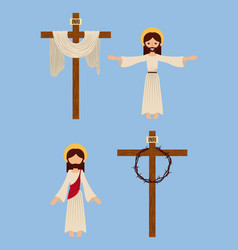 Set of icons christianity religious symbol vector