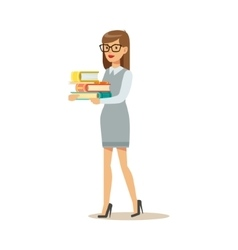 Woman In Glasses Carrying Pile OF Books Smiling vector image