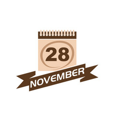 28 november calendar with ribbon vector