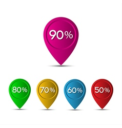 3D pointer with the percentage discounts isolated vector image