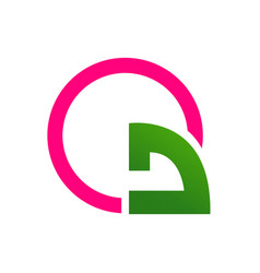 abstract turn arrow with pink circle logo template vector image