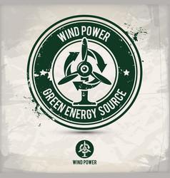 alternative wind power stamp vector image