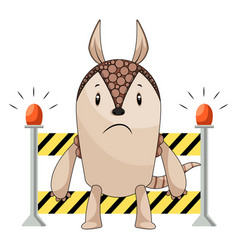 armadillo on working station on white background vector image