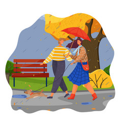 Autumn couple happy girl and guy with umbrella vector