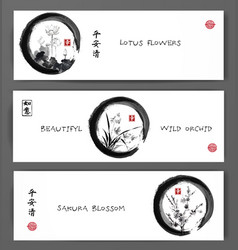 Banners with lotus flowers wild orchid and sakura vector