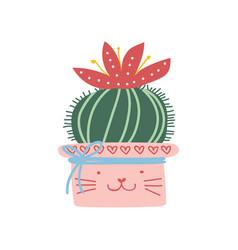 blooming actus plant growing in pink pot design vector image
