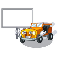 Bring board jeep car isolated with cartoon vector