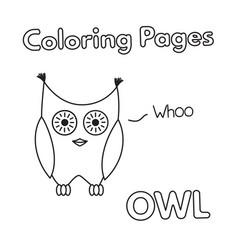 cartoon owl coloring book vector image