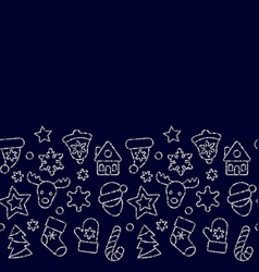 christmas toys seamless border from gold outline vector image
