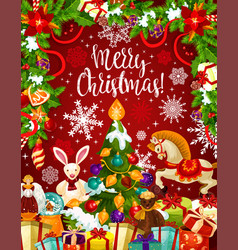 Christmas tree and gift card with new year garland vector