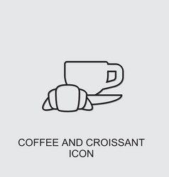 Coffee and croissant icon vector