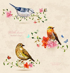 collection of cute birds watercolor painting vector image