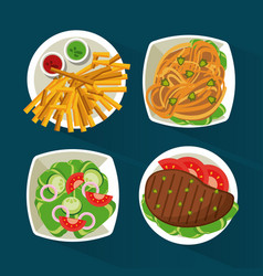 colorful background with dish foods with meat and vector image