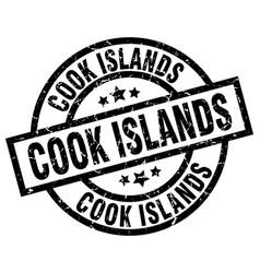 cook islands black round grunge stamp vector image