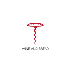 corkscrew and bread in it design template vector image