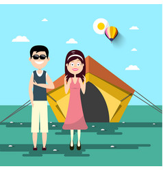 couple on camping trip with tent and landscape on vector image