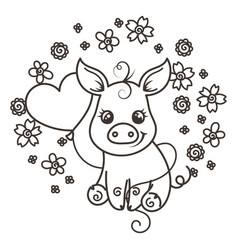 Cute cartoon baby pigs in love vector